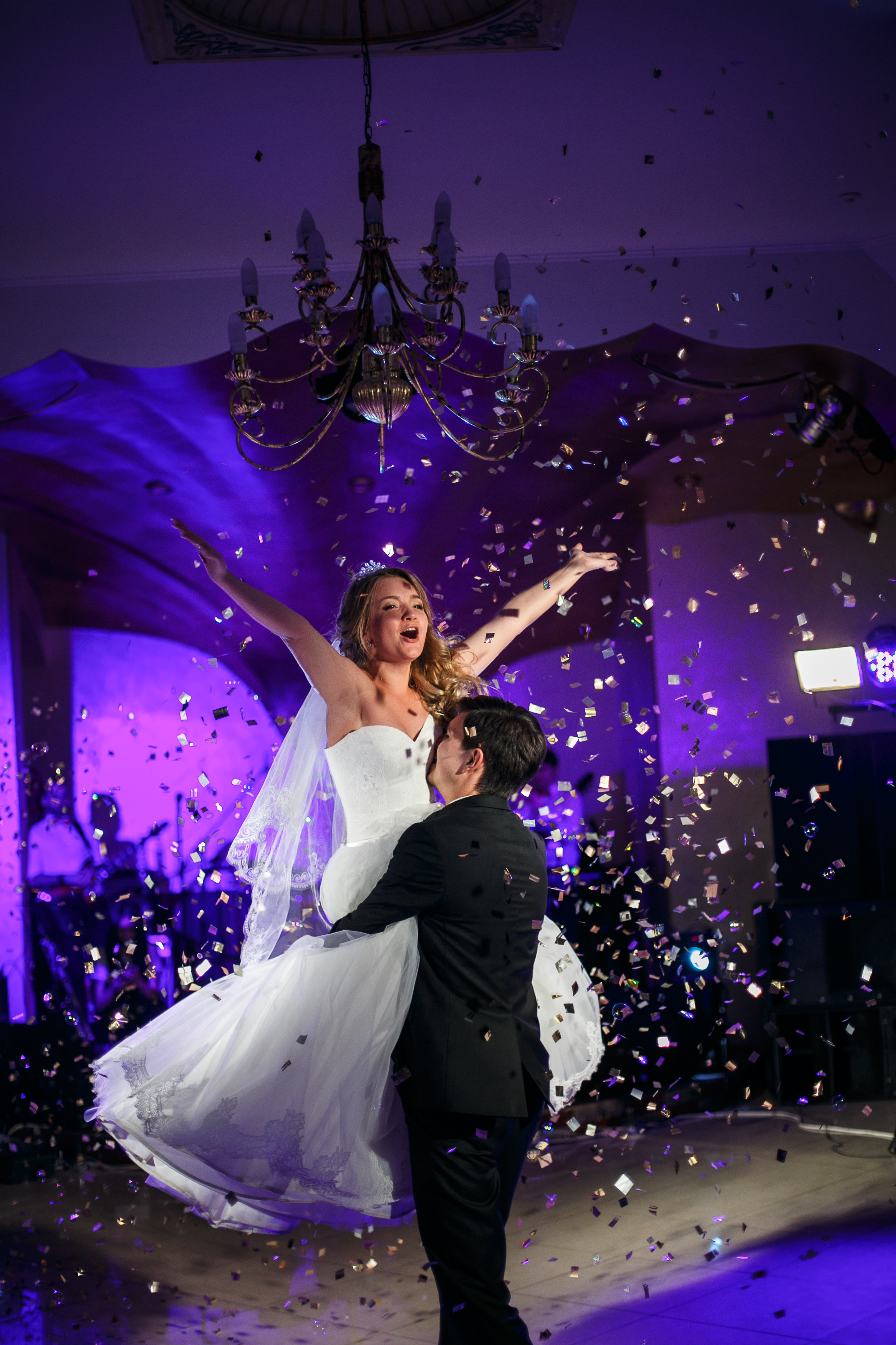 Two Brides First Dance Under Falling Confetti