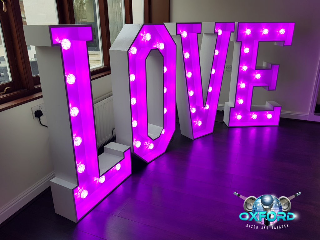 Oxford Disco And Karaoke In Oxfordshire - Giant LOVE Letters (Colour)