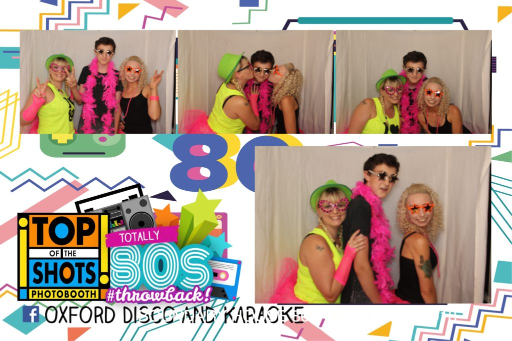 Oxford Disco and Karaoke in Oxfordshire - Top top of the Shots Photo Booth - 80s Throwback Template