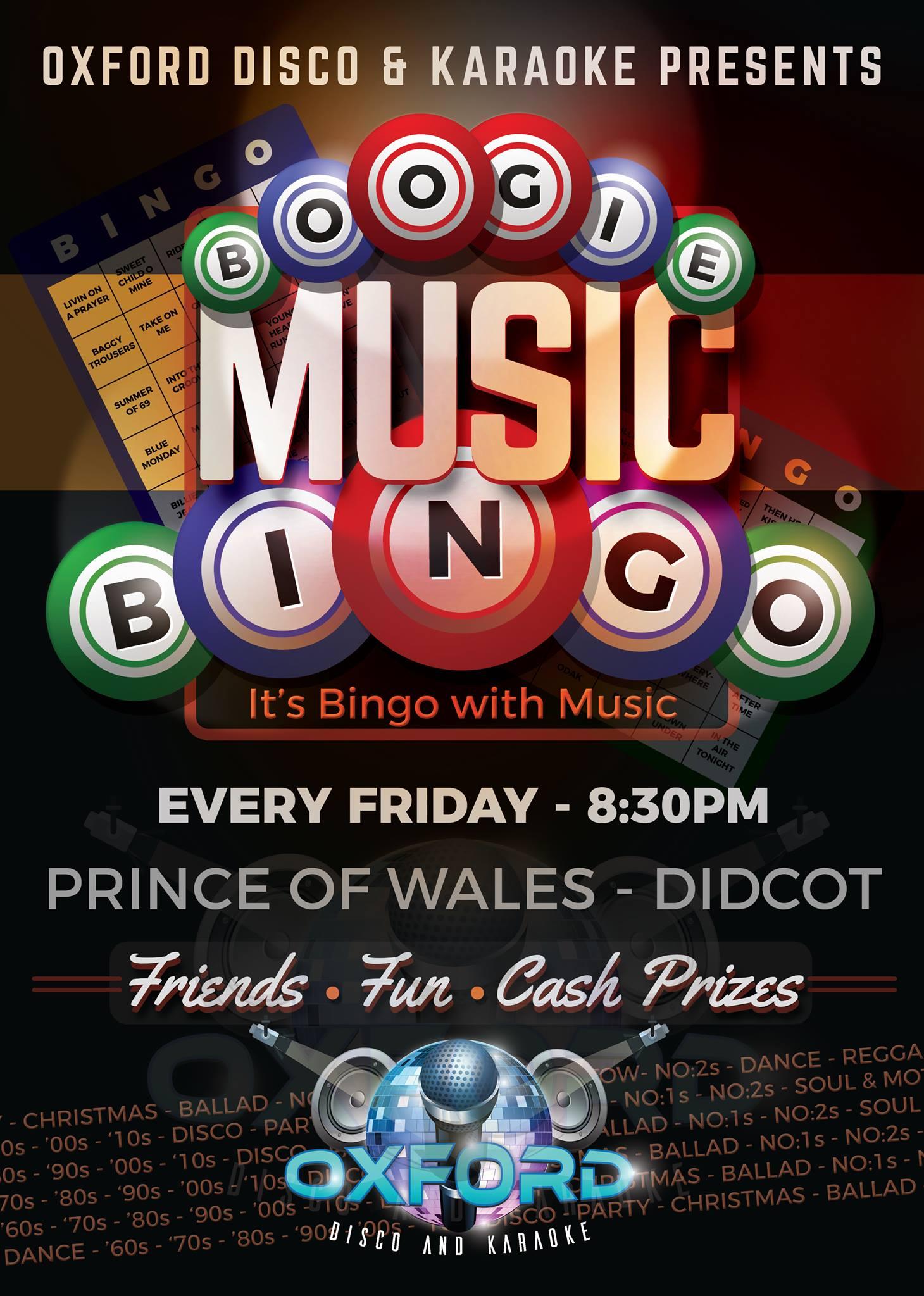 Oxford Disco and Karaoke in Oxfordshire - Boogie Music Bingo Poster