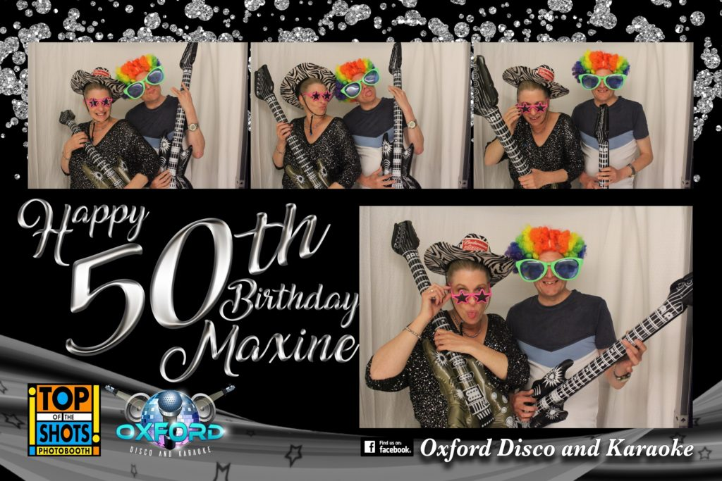 Oxford Disco and Karaoke in Oxfordshire - Top top of the Shots Photo Booth - 50th Birthday Template