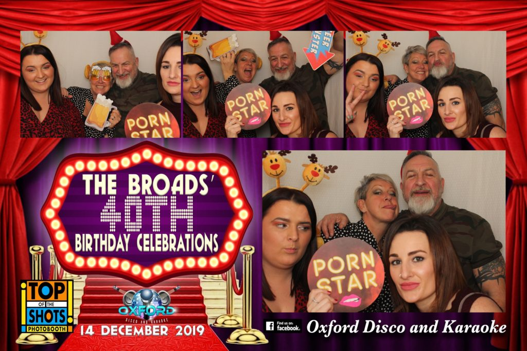 Oxford Disco and Karaoke in Oxfordshire - Top top of the Shots Photo Booth - 40th Birthday Template