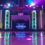 Oxford Disco and Karaoke in Oxfordshire Star Lit Black & White Strip - Pink LED