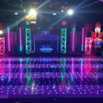 Oxford Disco and Karaoke in Oxfordshire White & Black Stripe Star Lit Dance Floor in Twinkle Mode