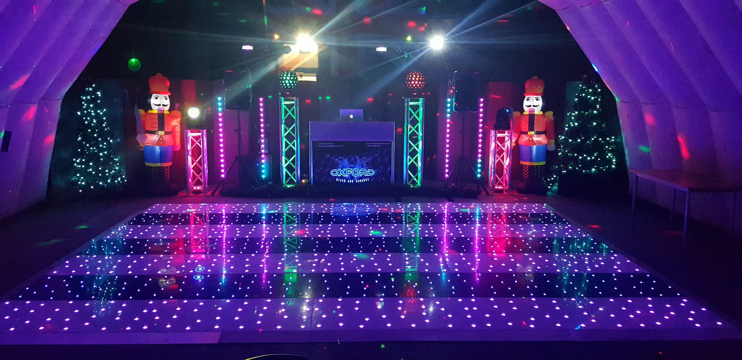 Oxford Disco and Karaoke in Oxfordshire White & Black Stripe Star Lit Dance Floor in Twinkle Mode