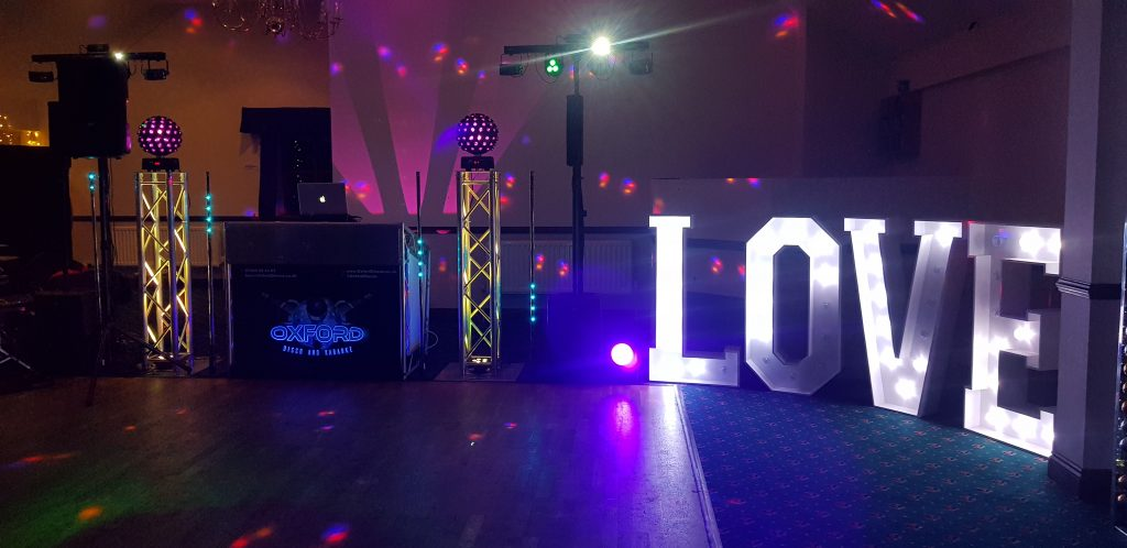 Oxford Disco And Karaoke In Oxfordshire - Giant LOVE Letters (White)