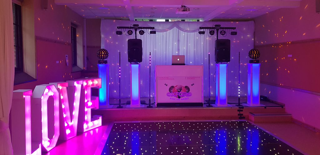 Oxford Disco and Karaoke Disco Set Up with White Wedding