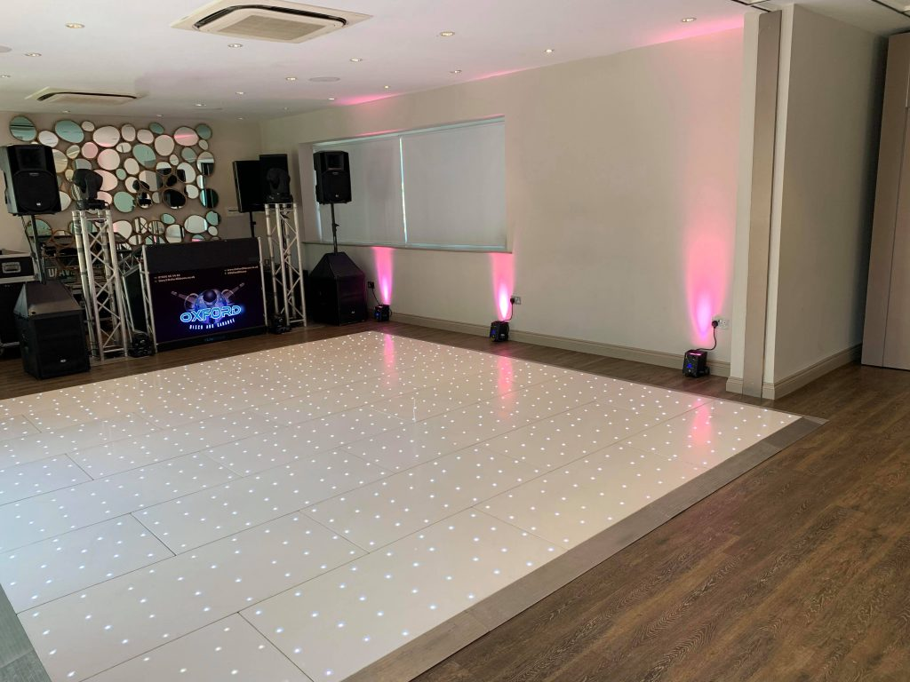 Oxford Disco and Karaoke - White LED Dance Floor with Pink Uplighters